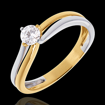 Double-fusion Solitaire ring - yellow and white gold