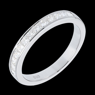 Semi-Paved White Gold Wedding Ring